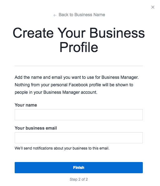 Facebook Business Manager create profile